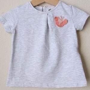 Zara Baby Girl Grey T-Shirt, 9-12 mo